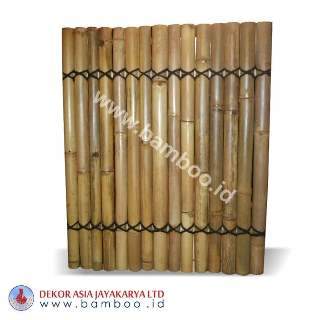 Half cut Natural bamboo fence 2 back slats black coco rope